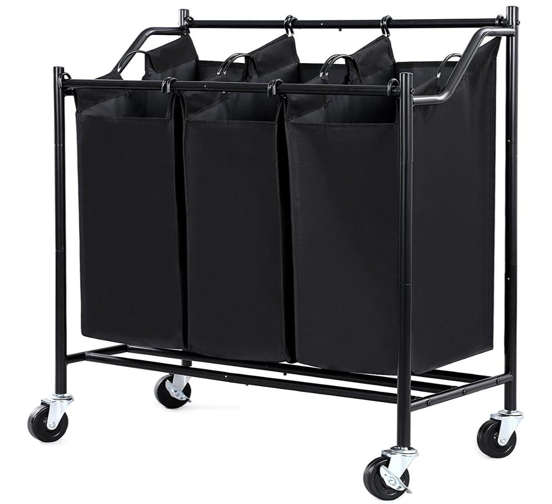 Rolling Laundry Sorter Cart Heavy Duty 3 Bags Hamper With ironing board